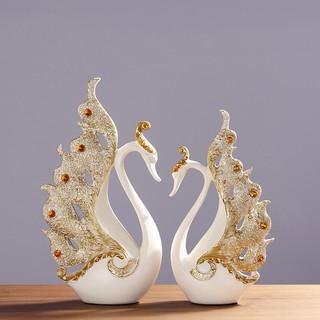 Tượng trang trí Cặp thiên nga trắng cánh vàng – Trang trí phong cách hiện đại