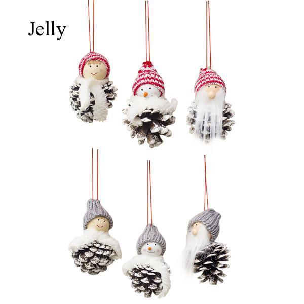 3pcs Small Christmas Santa Cones Doll Hanging Ornaments Tree Decorations J662