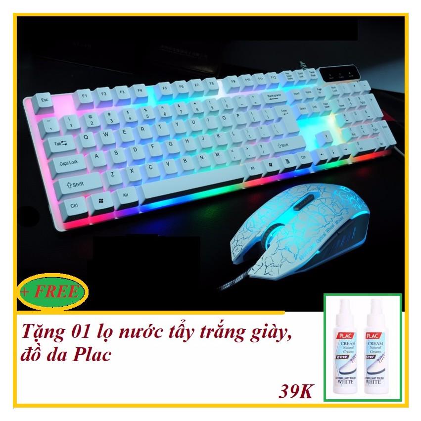 Bộ bàn phím và chuột chơi Game Led chuyên nghiệp G160 PRO mới (Trắng) + Tặng nước tẩy trắng giày, đồ
