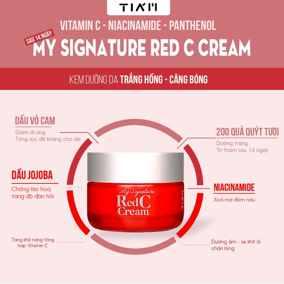 Kem Dưỡng Trắng, Mờ Thâm Nám TIAM My Signature Red C Cream 50ml | Shopee  Việt Nam
