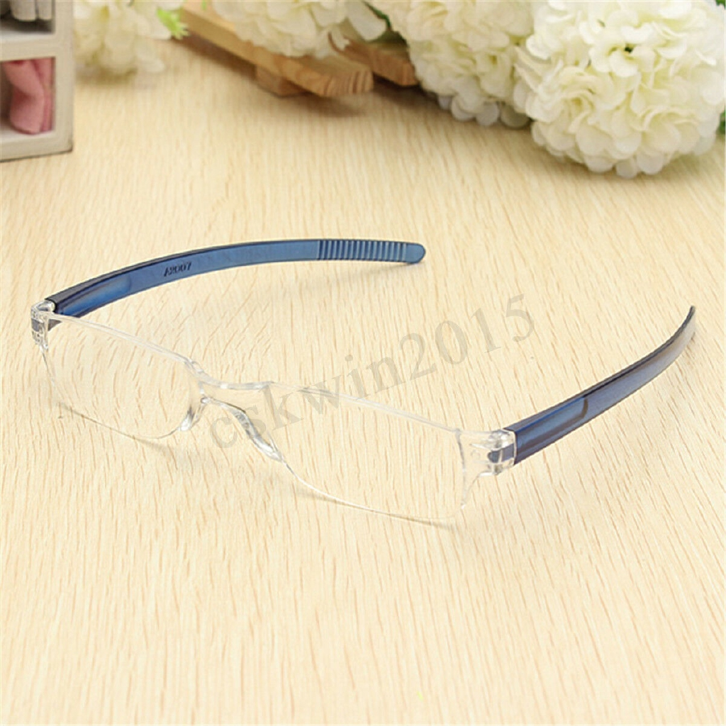 Unisex Blue Unique Fashion Clear Rimless Reading Glasses Eyeglasses Resin