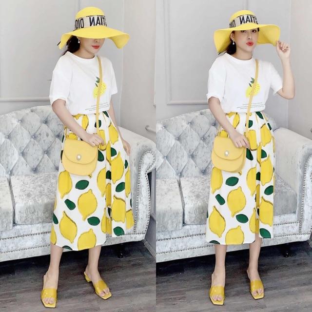 Set áo phông chân váy chanh vàng