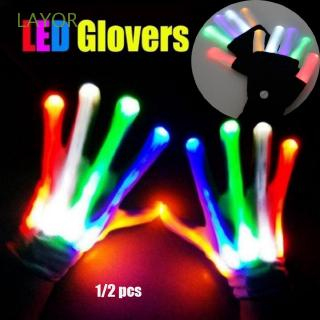 LAYOR 1/2pcs Colorful Creative Festive Party Supplies Xmas Dance Rave Luminous Flashing Glove
