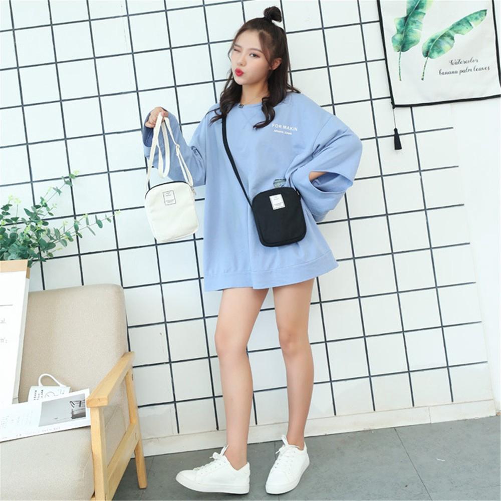 Túi đeo chéo dáng vuông mini bằng vải bố thời trang cho nữ