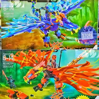 LEGO NinjaGo FullCombo A&B : Lắp ráo Rồng Lửa LY-68015A & Lắp Ráp Rồng Sấm Sét LY-68015B