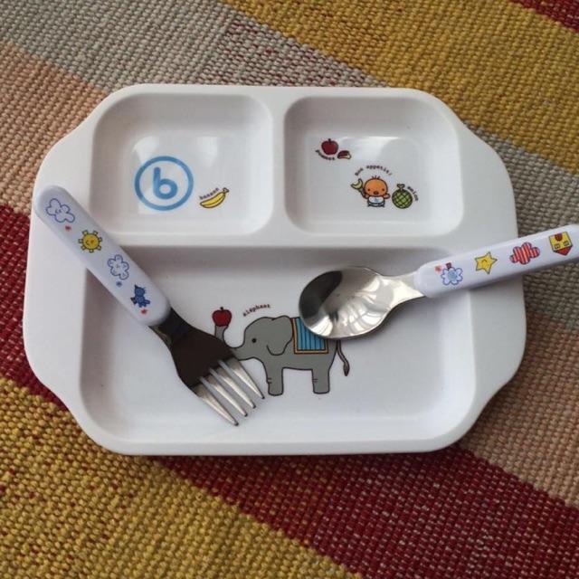Ninikids: Bộ khay ăn dặm+ thìa + dĩa ăn cho bé