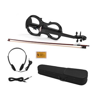 Full Size 4/4 Basswood Electric Violin Fiddle Ebonized Fittings with Headphone Connection Cable Rosin Carry Case