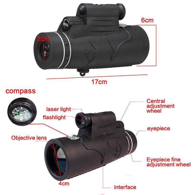 Ống nhòm một mắt Kính Viễn Vọng gắn điện thoại Zoom  50*60 Có Đèn Lazer Hồng Ngoại Hỗ trợ nhìn trong đêm