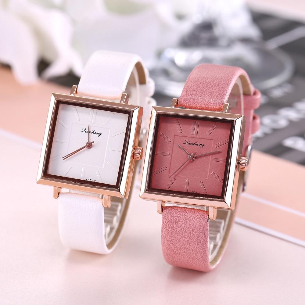 นาฬิกาข้อมือผู้หญิง Luxury Diamond Mirror Leather Strap Casual Square Large Dial Watches