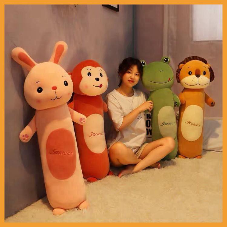 Gối Ôm Hình Thú Ếch - Thỏ - Khỉ, Thú Nhồi Bông Siệu Mịn Co Dãn 4 Chiều Quà Tặng Đáng Yêu