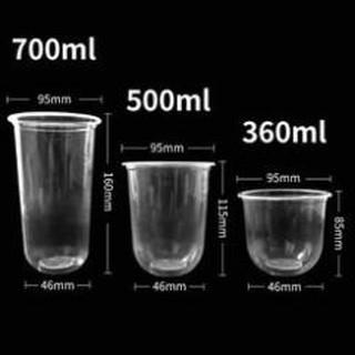 SỈ Sỉ 50 cốc nhựa dùng 1 lần 700ml đáy bầu chữ U kèm nắp phẳng