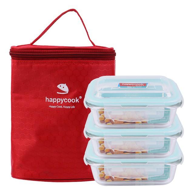 Bộ 3 Hộp Thủy Tinh Happy Cook Chữ Nhật 370ml Kèm Túi Giữ Nhiệt Glass HCG-03R