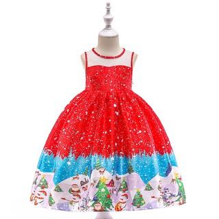 Đầm công chúa in hình ông già Noel cho bé gái