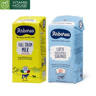 [Mã 157FMCGSALE giảm 8% đơn 500K] Sữa tươi Ý Arborea nguyên kem ít kem 200ml [Vitamin House]