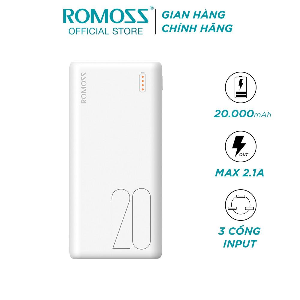 Pin sạc dự phòng Romoss Simple 20 20.000mAh nhỏ gọn 3 cổng input Micro - Lightning - Type C - Hãng phân phối chính thức