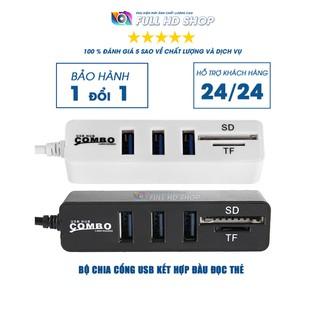 Bộ chia 3 cổng USB 2.0 – Hub chia cổng USB tích hợp đầu đọc thẻ tiện dụng – Full HD Shop