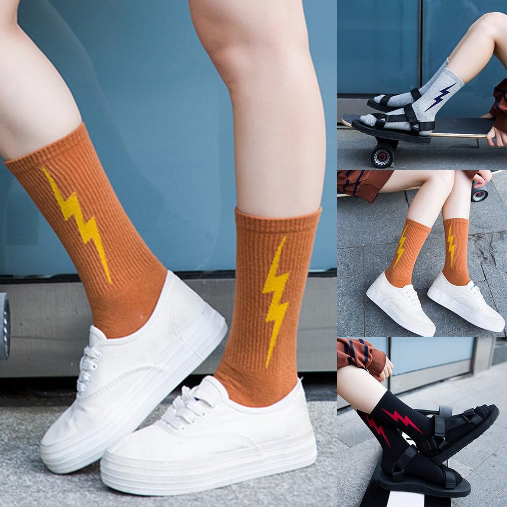 luoyangmudan Fashion Lightning  Elastic Women Soft Middle Tube Crew Socks