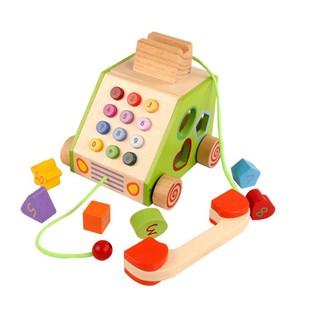 Đồ chơi Gỗ Mô Hình Điện Thoai Bàn Đa Chức Năng – Multifunction Drag Telephone
