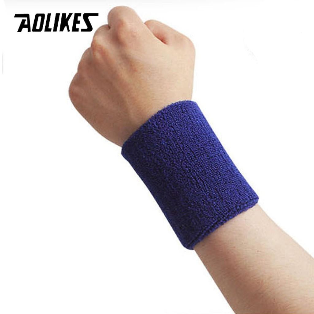 Chặn mồ hôi cổ Tay Aolikes chính hãng, Băng cổ tay chơi thể thao cầu lông, tennis A0230