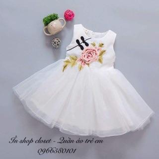Váy hoa hồng cổ tàu cho bé gái