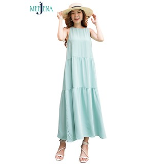 Đầm Maxi Nữ Vải Lụa Trơn 4 Màu 46-64 kg - MEEJENA - 3393 thumbnail