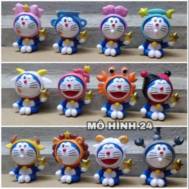 [BỘ 12 EM] COMBO nhân vật Doraemon cung hoàng đạo ĐÔ RÊ MON mô hình để bánh sinh nhật gato đồ chơi Doremon