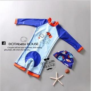 10-22kg(cá nóc xanh)Đồ bơi dài tay liền thân có nón cho bé trai – DOTAbébi HOUSE