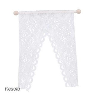 1:12 Dollhouse Decoration Mini Triangular Lace Curtain With Wooden Rod