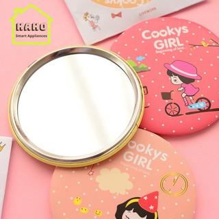 Gương mini trang điểm, gương để bàn 2 mặt họa tiết cute, bỏ túi tiện dụng