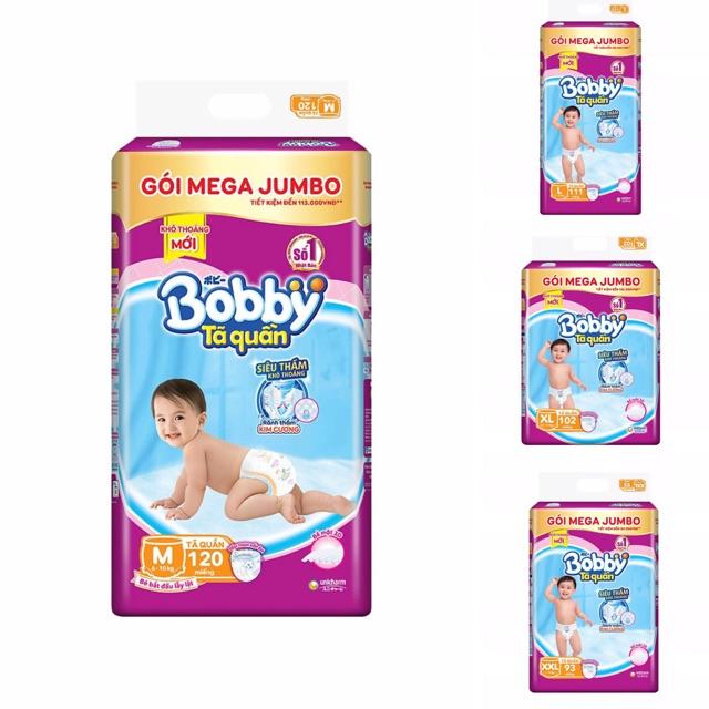 Tã quần Bobby gói Mega Jumbo : M120-L111-XL102-XXL93 - mẫu mới rãnh kim cương