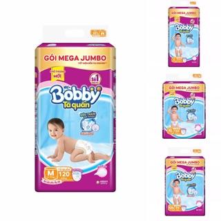Tã quần Bobby gói Mega Jumbo M120-L111-XL102-XXL93 - mẫu mới rãnh kim cương