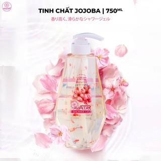 SỮA TẮM THƠM MỊN DA JOJOBA BÔNG HOA AVATAR Hoa thật Tắm trắng da Hương hoa Anh đào dài lâu 750ML thumbnail