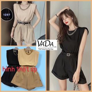 Sét áo sát nách fom rộng + quần sort suông 2 nút đi chơi ,dạo phố, cafe so hot - Thời Trang VADA (S13) thumbnail