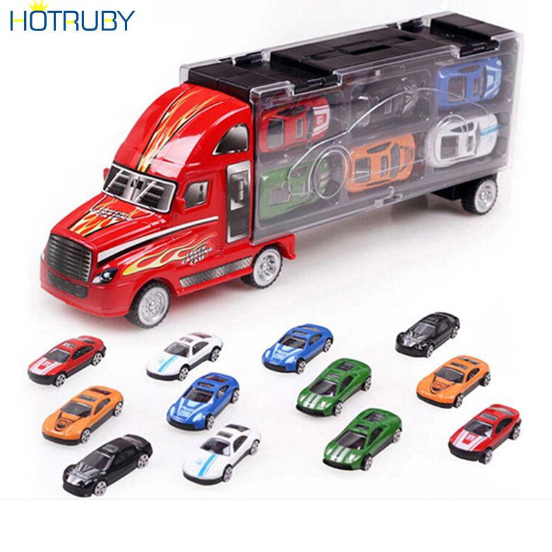 Children Model Portable Gift Container Car Toy Car 12 Alloy Toy Car Truck Toys HTVN