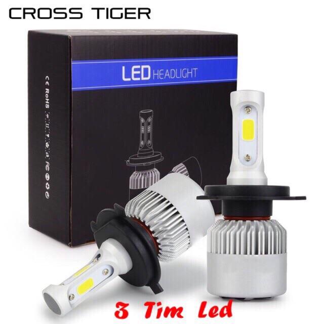 Đèn pha led S2 H4 3 tim led siêu sáng ( giá 10 bóng)