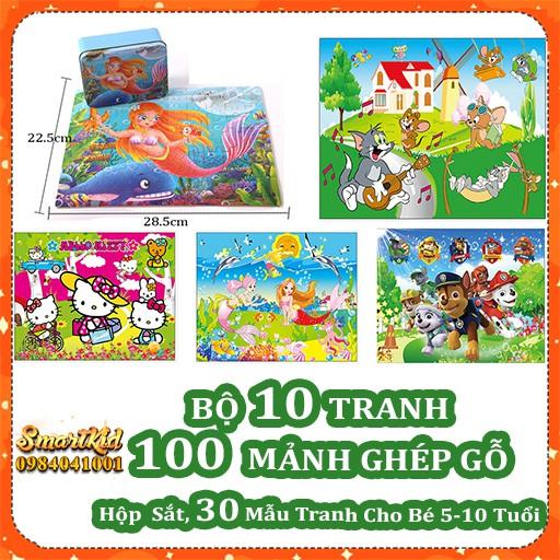 Bộ 10 Tranh Xếp Hình 100 Mảnh Gỗ Hộp Sắt Cho Bé 4-10 Tuổi