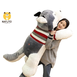 Gấu bông gối ôm chó Husky mặc áo len HAFUTO size 100cm