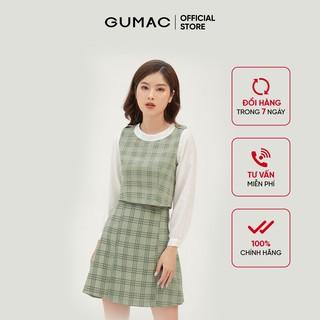Chân váy nữ dáng chữ A cơ bản GUMAC họa tiết caro, năng động trẻ trung VB360 thumbnail