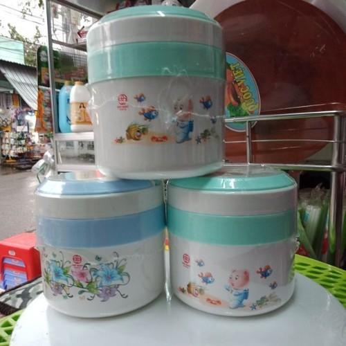 ( Sỉ ) Cà men Giữ nhiệt 2 ngăn ruột inox có quai xách nhựa Việt Nhật-Nhựa việt Nhật dung tích 1L