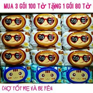 (3 Tặng 1)COMBO 3 KHĂN ƯỚT AGI 100 TỜ TẶNG 1 GÓI 80 TỜ