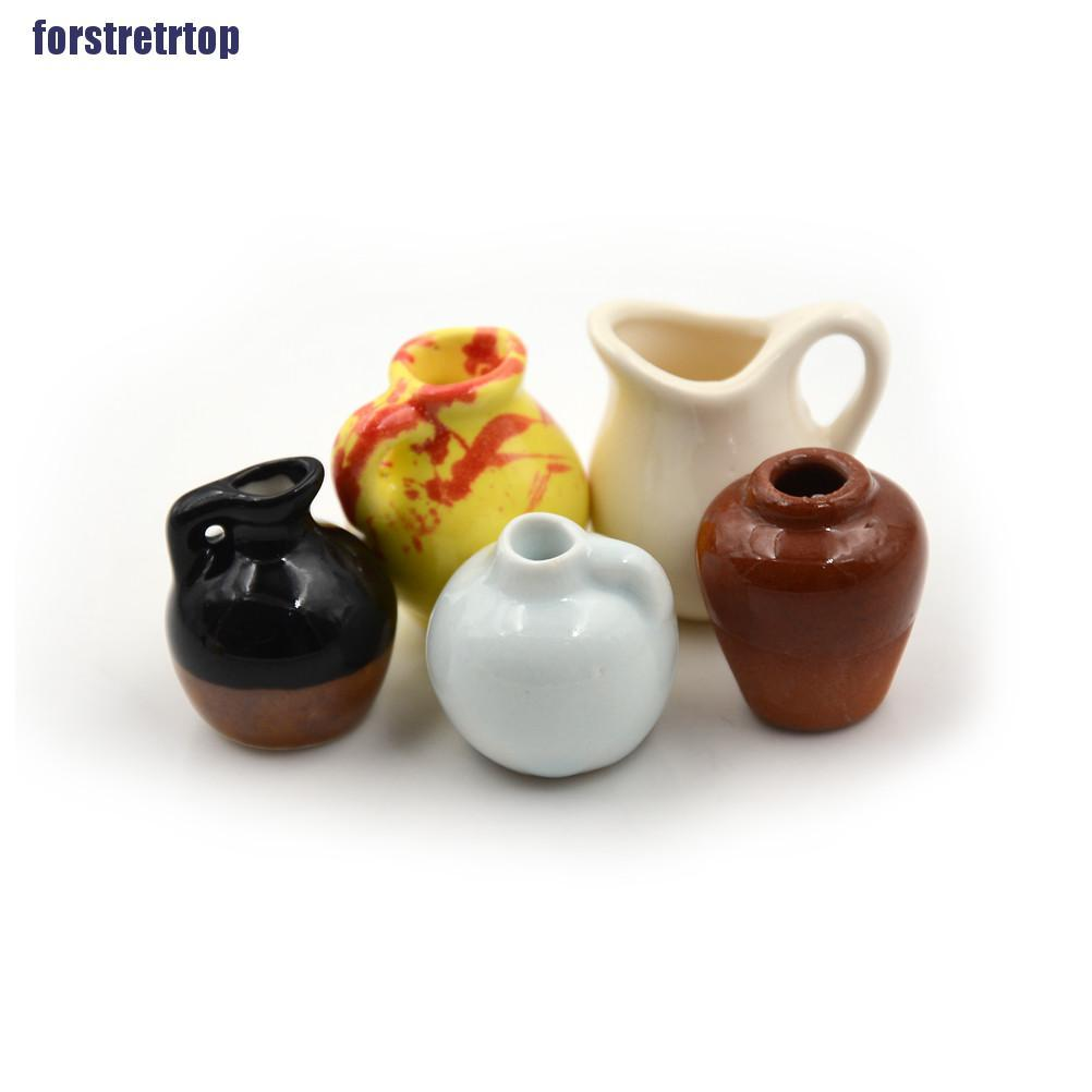 【FSTTTOP】1:12 Dollhouse Miniature Toy Vintage Porcelain Decoration Ceramic Vas