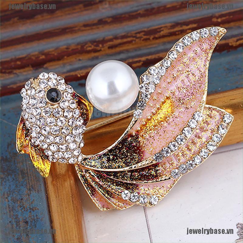 [Base] Enamel Goldfish Brooch Pin Women Rhinestone Crystal Animal Brooch Dress Jewelry [VN]