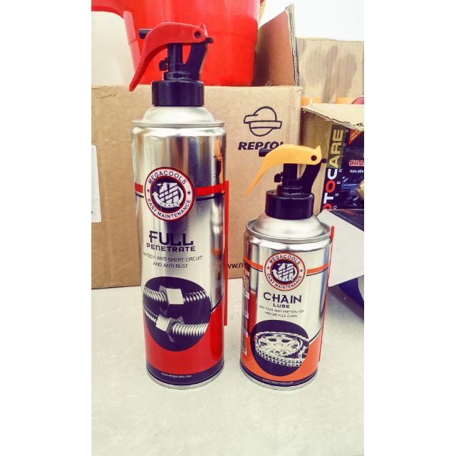 (500ml + 300ml) Combo rửa sên, xịt sên Megacools Full Penetrate + Chain Lube xuất xứ Indonesia