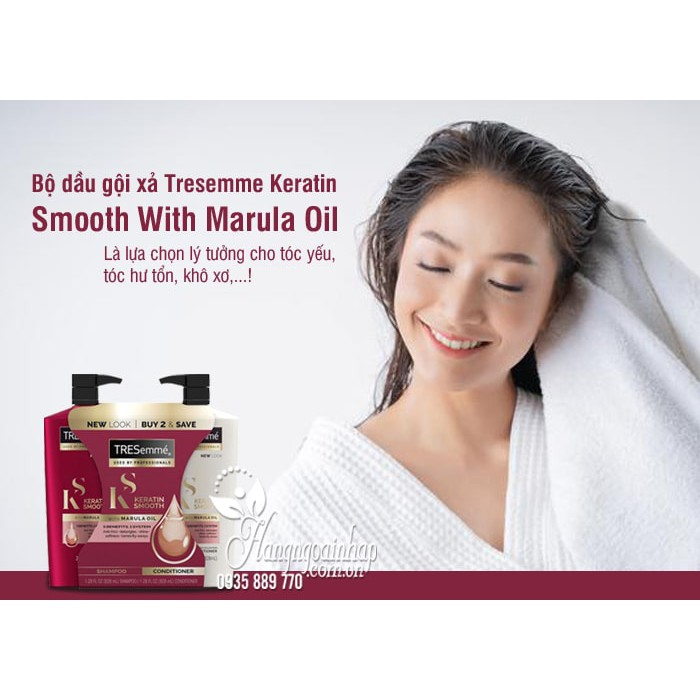 Combo 2 Chai Dầu Gội Xả Tresemme Keratin Smooth With Marula Oil 828ml Của Mỹ