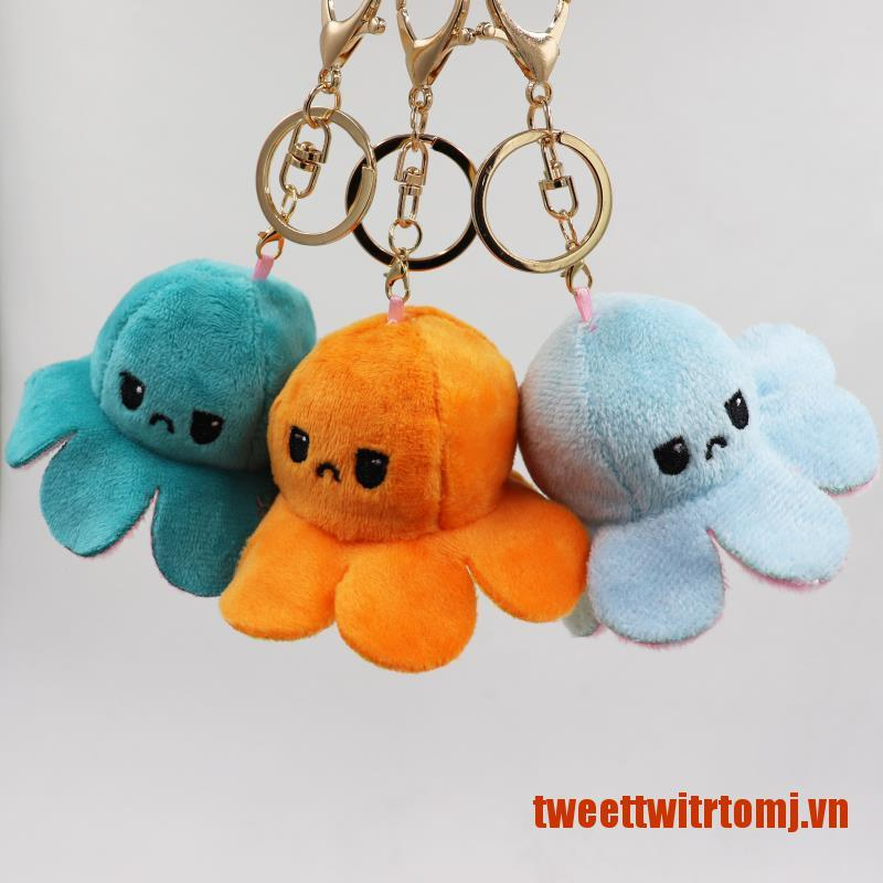 TWEET New Stuffed Two Sides Reversable Octopus Keychain and Turn Over Bag Pendant