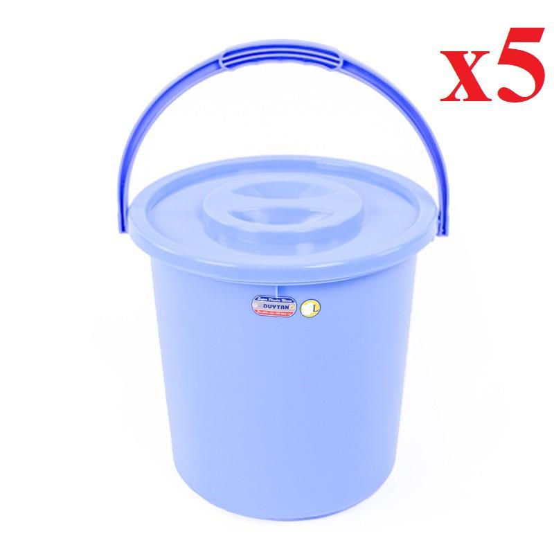 [HCM]Combo 5 Xô nhựa không nắp 10 lít Duy Tân No.H063 (28.2 x 26.4 x 24.6 cm)