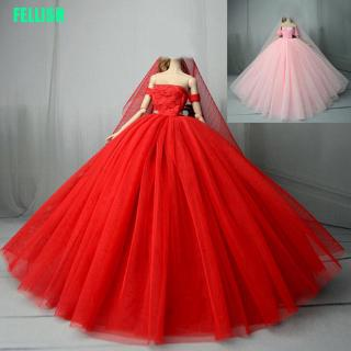 """(FEL) Handmade doll wedding dress for 11"""" 1/6 dolls evening party gown clothes"""