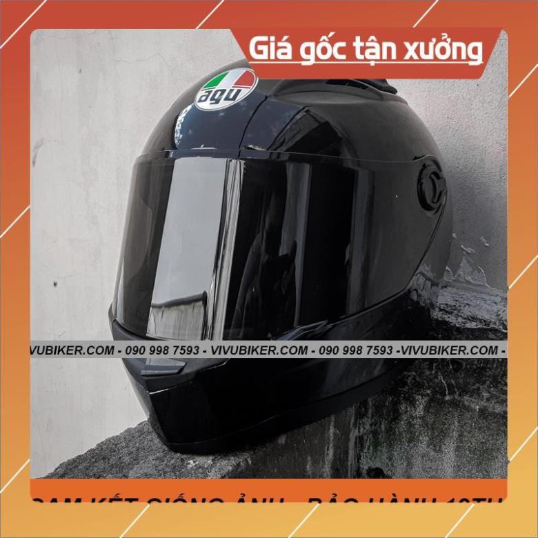 [Giống ảnh] Mũ nón bảo hiểm Fullface AGU đen bóng kèm sừng Batman gắn nón fullface - Mũ bảo hiểm đen bóng kính đen