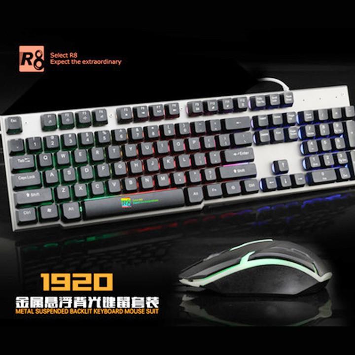 Bộ bàn phím giả cơ và chuột chuyên game R8 1920 Led 7 màu (đen bạc)