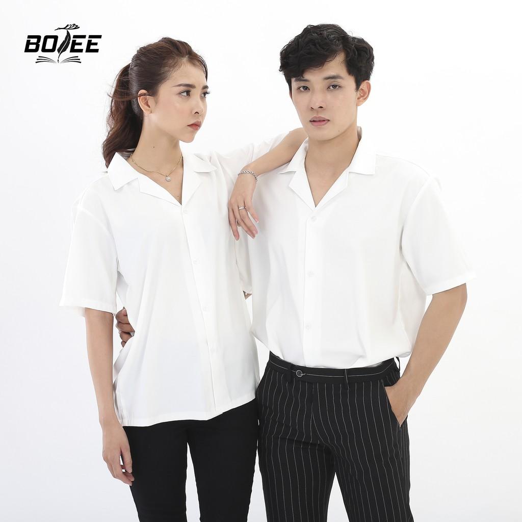 Áo sơ mi ngắn tay Trắng cổ Vest BOTEE vải lụa mềm mại form rộng unisex nam nữ